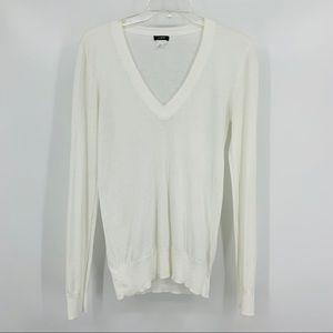 J. Crew Cotton V-neck White Sweater